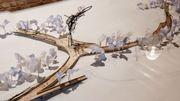 Une oeuvre d'art sous la forme d'un pont construite sur le site de Tomorrowland