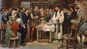 Les colons représentés lors du baptême de la petite Virginia Dare