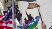 Une variante du Gadsden Flag avec le serpent au centre du drapeau américain.