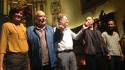 Tahar Ben Jelloun fort applaudi à l'issue du spectacle à l'Hôpital Notre-Dame à la Rose