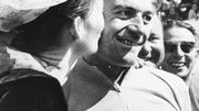Jan Adriaensens en jaune après la 6ème étape du Tour 1960 (Saint-Malo - Lorient), le 2 juillet