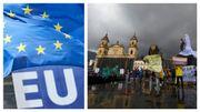 Bruxelles: des centaines de manifestants au Parlement européen pour soutenir le mouvement social en Colombie