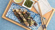 Recette : brochettes de thon aux poires, beurre sauce soja