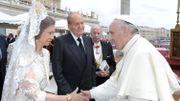 Le roi Juan Carlos et la reine Sofia, avec le pape François