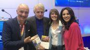 Les invitées et Patrick Poivre d'Arvor, de passage à la Foire du livre de Bruxelles