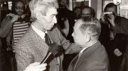 Hergé et Tchang Tchong-Jen à leurs retrouvailles à Bruxelles, en mars 1981
