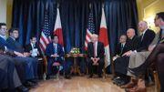 Le président Donald Trump et le Premier ministre japonais Shinzo Abe lors d'une rencontre ce 26 mai à Taormina