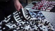 """Des écharpes avec des motifs de""""glitch"""" (Capture d'écran de la vidéo """"The Internet Yami-Ichi 5 Brussels d'iMAL)"""