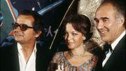 Serge Reggiani, Romy Schneider et Michel Piccoli lors de la cérémonie des Césars 1976