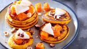 Recette : Petits pancakes à la courge butternut rôtie et charolais
