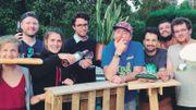 L'équipe du Stoemp Festival, de gauche à droite : Juliette, Tim, Camille, Olivier, Jonathan, Quentin, Corentin et Diego