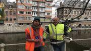 Christophe Delaere (CREA-Patrimoine, à gauche) et Dominique Bosquet (SPW, à droite), partenaires pour ce projet de fouilles archéologiques subaquatiques