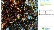 Cartographie des îlots de fraîcheur dans la Région de Bruxelles-Capitale. Le parc du Cinquantenaire ou le Parc Royal se distinguent comme îlot de fraîcheur.