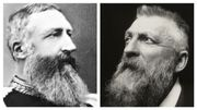 À gauche, Léopold II, roi des Belges entre 1855 et 1909. À droite, Auguste Rodin, photographié en 1902 par Charles Beresford.