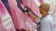 7h de graff', de bombes et de couleurs pour Didier Jaba Mathieu