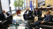 Martin Selmayr en compagnie de Jean-Claude Juncker (président de la Commission européenne), Donald Tusk (président du Conseil européen)et Martin Schulz (ex-Président du Parlement européen).