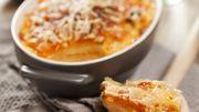 Recette : Gratin de panais et patate douce à la truite fumée