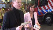 François De Brigode et Justine Katz en tournage auprès des services de secours