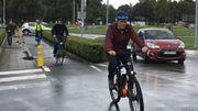 L'Echevin a enfourché son vélo pour la visite