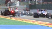 Verstappen et Raikkonen se touchent à La Source, le Néerlandais en perdition dans le Raidillon