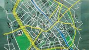Plan de la ville de Tournai, sur un panneau d'affichage