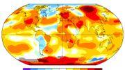 Carte des anomalies de température au mois de juin 2018 - données de la NASA