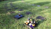 """Les """"cavurnes"""" sont de mini-tombes où so,nt enterrées les cendres du défunt comme ici à Robermont"""