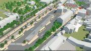 Voici à quoi devrait ressembler la future gare des bus: en haut à droit, la place Henri Berger. A gauche, la ligne de chemin de fer et les quais partagés entre le TEC et la SNCB.