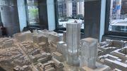 """La maquette du projet """"Loi 130"""" montre le prochain projet immobilier de la Commission, Rue de la Loi: 300.000 mètres carrés de bureaux dans les bâtiments translucides."""