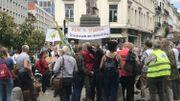 La place située au croisement des rues Royale et de Louvain, autour de la statue d'Alexis Brialmont, où a débuté la manifestation.