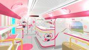 Un train à grande vitesse sur le thème Hello Kitty au Japon