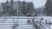 La neige a recouvert Lesve (province de Namur), comme on le voit sur cette photo envoyée par un internaute.
