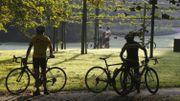 Des cyclistes au « Gordelfestival », à Sint-Pieters-Leeuw, septembre 2017.