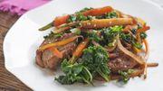 Recette: Wok de chou kale au porc
