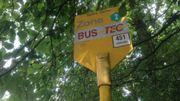 Le panneau de l'arrêt du bus 451 ne stipule pas que l'on ne puisse pas monter ni descendre du bus