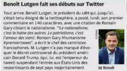 Benoit Lutgen ouvre son compte Twitter, découvrez son premier Tweet dans la revue de presse :