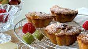 Recette de Leslie : muffins à la rhubarbe, framboise et chocolat blanc