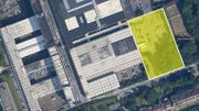 Reyers 2020: situation actuelle, avec en jaune l'emplacement choisi pour les futurs bâtiments.