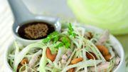 Recette : Salade de chou blanc au poulet, sésame et noix de cajou