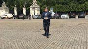 Olivier Maingain, le président de Défi, arrive au palais