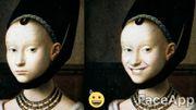 L'application qui permet ici « vieillir » ou faire sourire un individu sur une photo.