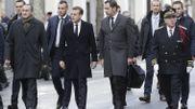 De gauche à droite : Laurent Nuñez (secrétaire d'Etat auprès de ministère de l'intérieur), Emmanuel Macron (Président de la France), Christophe Castaner (Ministre français de l'intérieur) et Michel Delpuech (préfet de police de Paris)