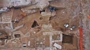 Vue aérienne d'une partie de la première tranche de fouille.