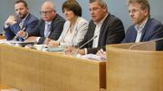 Patrick Prévot (PS), Jean-Luc Crucke (MR), Olga Zrihen (PS), Dimitri Fourny (cdH) et Stéphane Hazée (Ecolo).