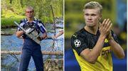 Haaland, le serial buteur de Dortmund troque son ballon contre une tronçonneuse