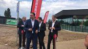 Les ministres Maxime Prévot et Carlo Di Antonio et le bourgmestre d'Hensies Eric Thiébaut sont venus inaugurer la nouvelle aire frontalière