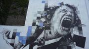 Expostion REVLT! : inauguration d'une fresque de l'artiste street art FSTN à Bruxelles