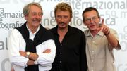 "Jean rochefort, Johnny Halliday et Patrice Leconte en 2002 pour ""L'homme du train"""