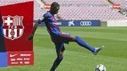 Dembélé se loupe lors de la présentation au Camp Nou