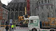 L'immense grue du chantier de la cathédrale de Tournai a (presque) disparu du paysage